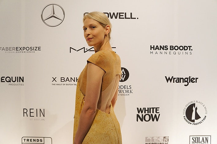 Silk and cork gown by byBrown at the Mercedes-Benz Amsterdam Fashion Week - open back
