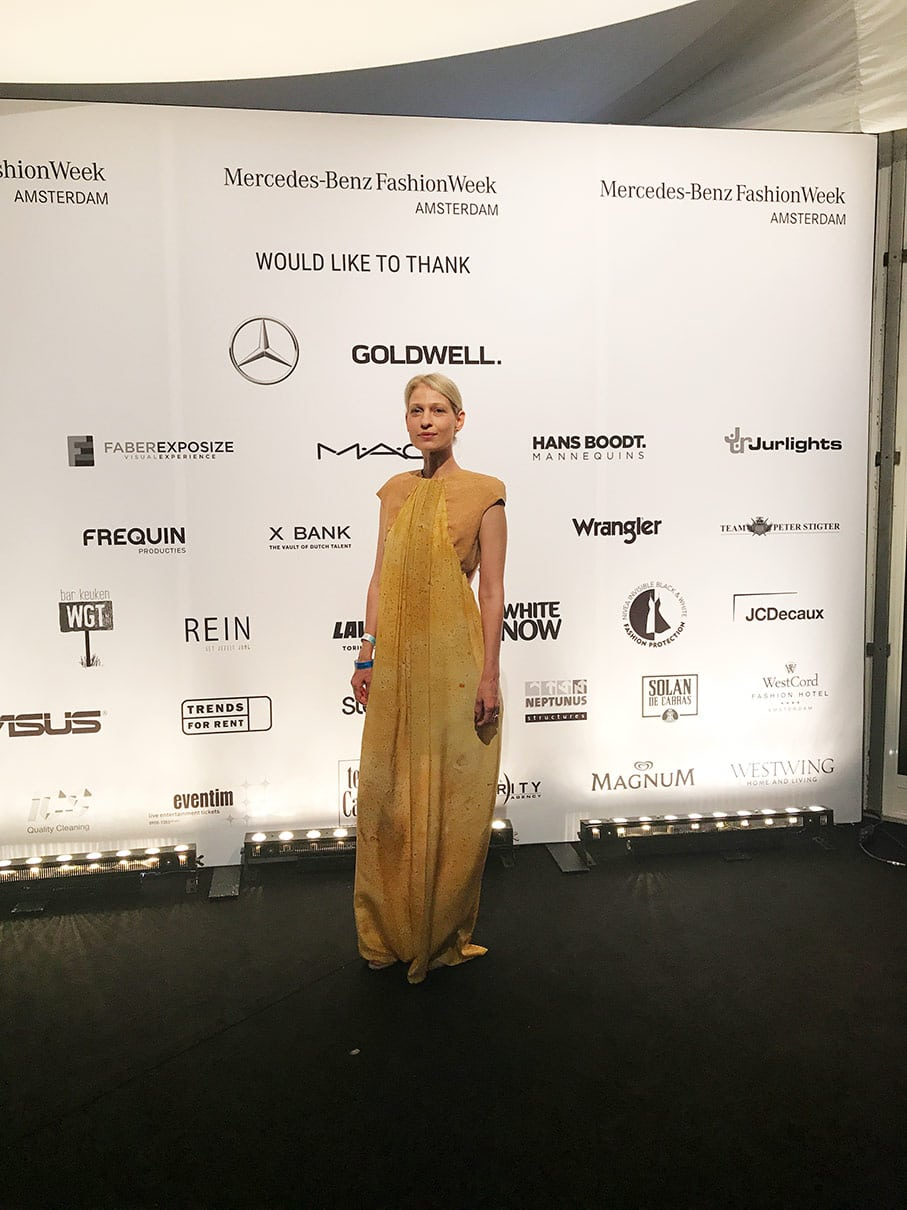 Silk and cork gown by byBrown at the Mercedes-Benz Amsterdam Fashion Week