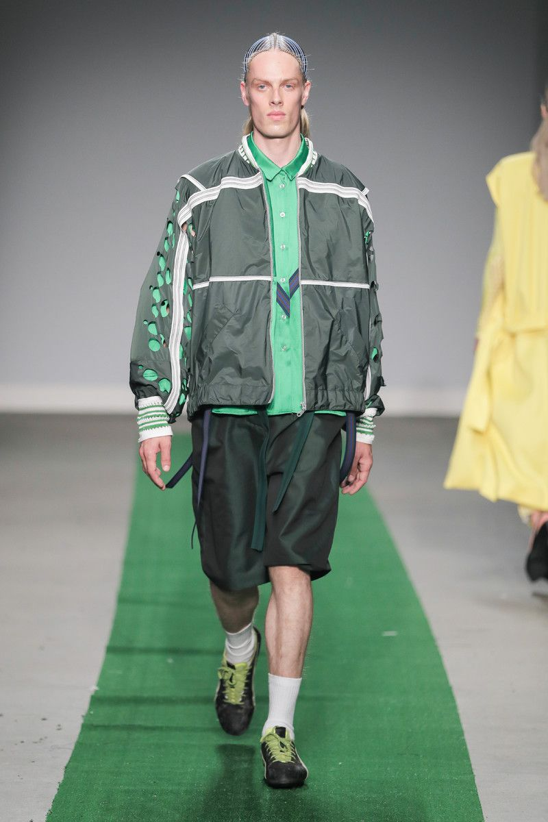 M.E.N. showing at the Mercedes-Benz Amsterdam Fashion Week - green male suit