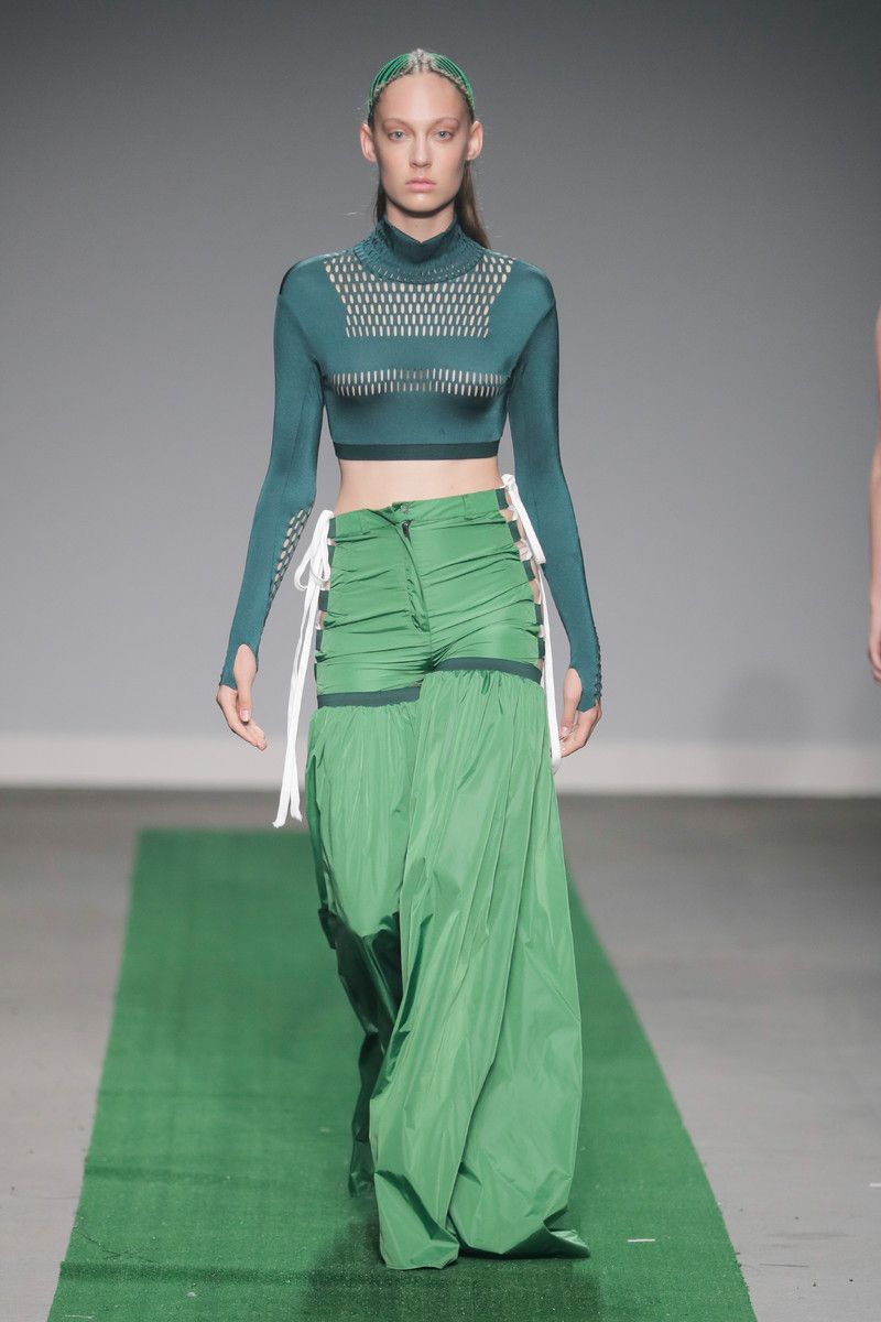 M.E.N. showing at the Mercedes-Benz Amsterdam Fashion Week - green pants