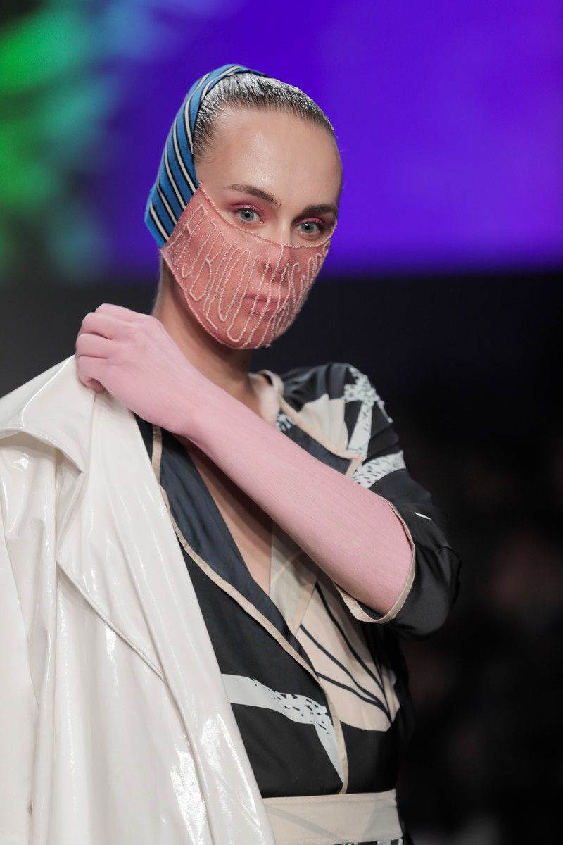 Ajbilou | Rosdorff showing at the Mercedes-Benz Amsterdam Fashion Week - pattern jumpsuit detail
