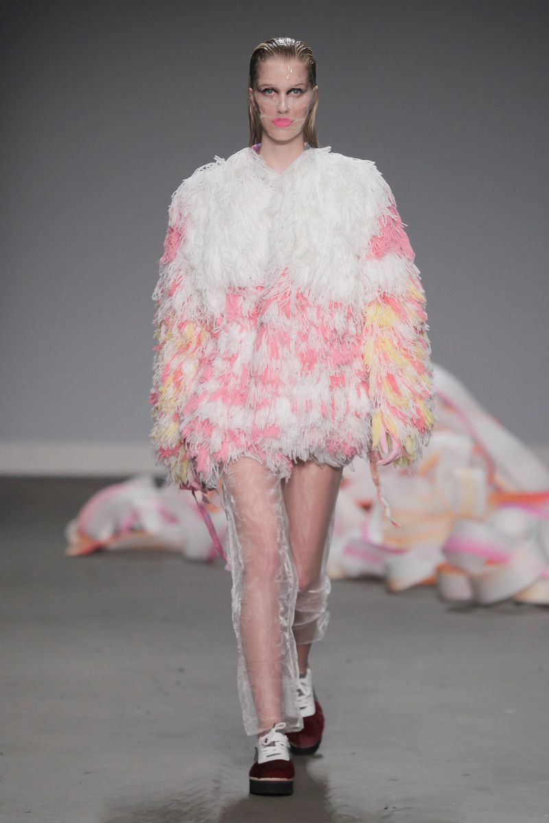 Ajbilou | Rosdorff showing at the Mercedes-Benz Amsterdam Fashion Week - pink fuzzy coat