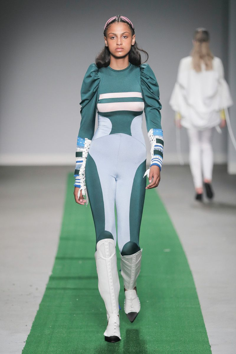 M.E.N. showing at the Mercedes-Benz Amsterdam Fashion Week - green bodysuit