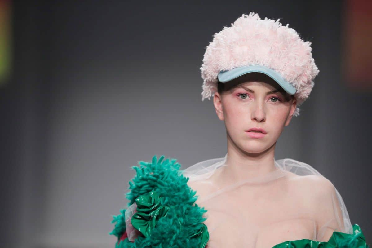 Ajbilou | Rosdorff showing at the Mercedes-Benz Amsterdam Fashion Week - green fuzzy coat (detail)