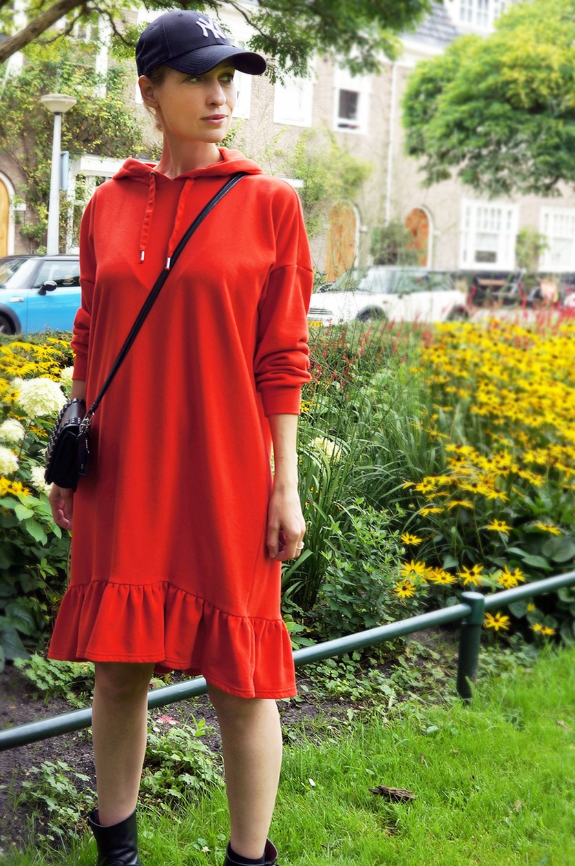 an orange hoodie dress - everyday sportswear